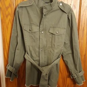 Olive Green Belted Jacket